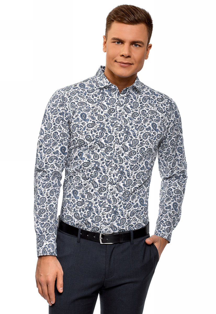Рубашка мужская oodji Lab, цвет: белый, темно-синий. 3L110325M/19370N/1079E. Размер 44 (56-182) рубашка мужская oodji цвет белый морская волна 3l210030m 44192n 106cc размер 40 182 48 182
