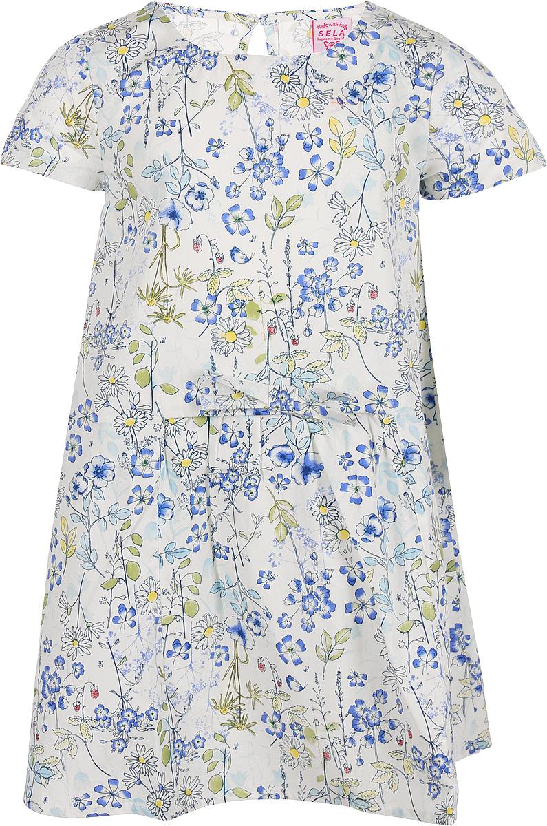 Платье для девочки Sela, цвет: слоновая кость. Ds-517/422-8223. Размер 104Ds-517/422-8223Платье от Sela выполнено из натурального хлопка с принтом. Модель с короткими рукавами и круглым вырезом горловины на спинке застегивается на пуговицу.