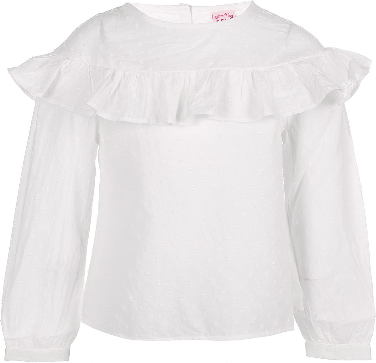 Блузка для девочки Sela, цвет: слоновая кость. Tw-512/278-8112. Размер 116