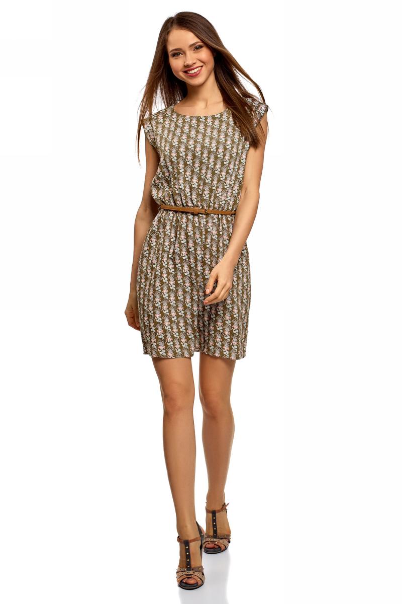 Платье oodji Ultra, цвет: хаки, красный. 11910073B/26346/6645O. Размер 42 (48-170)11910073B/26346/6645OПлатье oodji Ultra, выгодно подчеркивающее достоинства фигуры, выполнено из легкой струящейся ткани. Модель мини-длины с круглым вырезом горловины и короткими рукавами дополнена двумя прорезными карманами на юбке.В комплект с платьемвходит узкий ремень из искусственной кожи с металлической пряжкой.