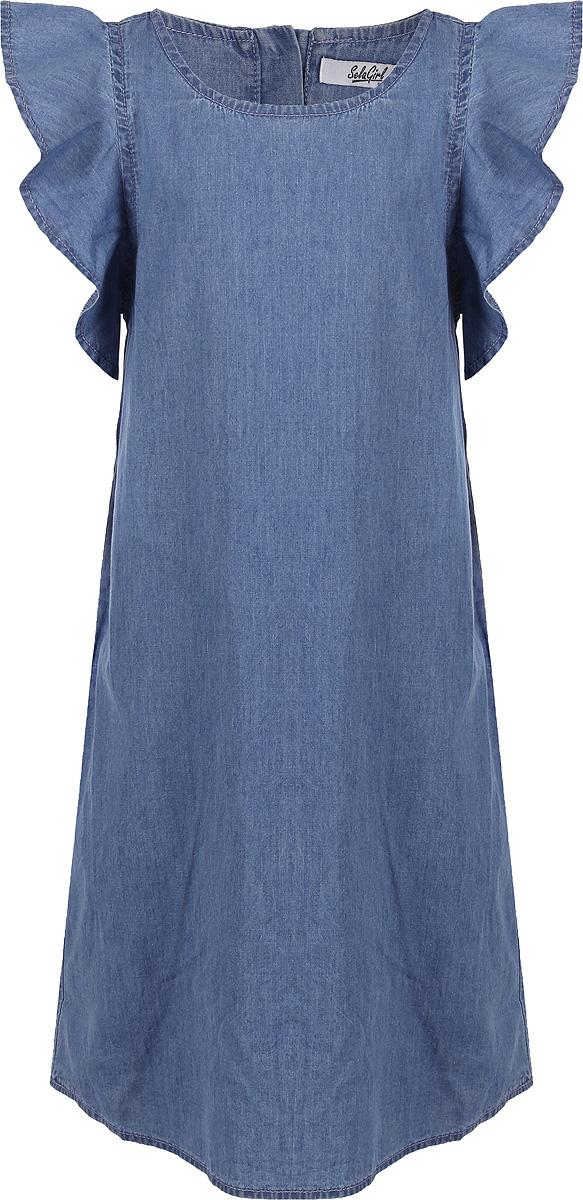 Платье для девочки Sela, цвет: голубой. Djs-637/855-8233. Размер 134 платье джинсовое sela sela se001ewznc54
