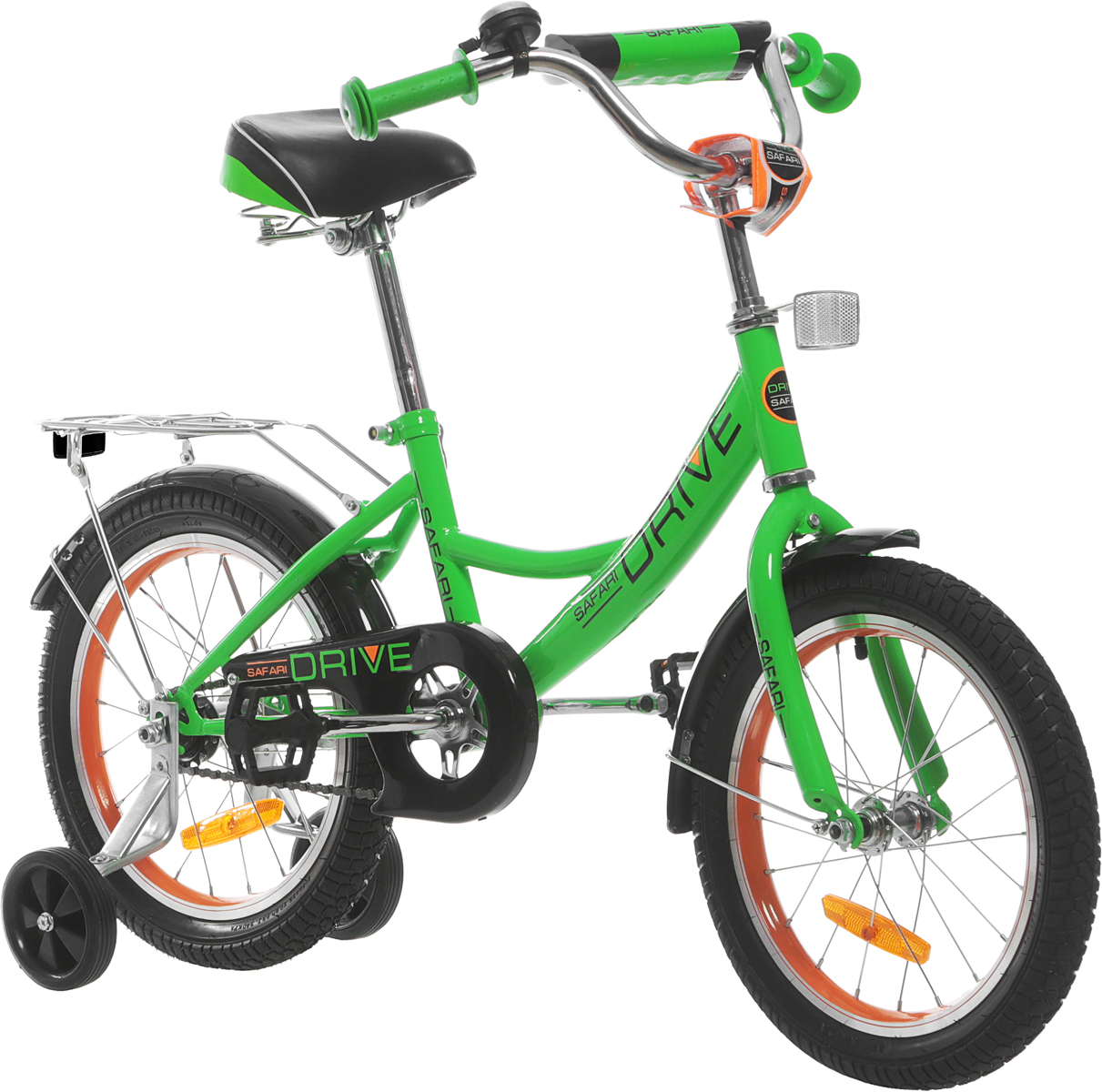Велосипед детский Safari Proff Drive, двухколесный, цвет: салатовый, колесо 161044598Аргоновая облегченная рама, багажник, алюминиевый облегченный обод колес, хорошо выдерживает ударную нагрузку, защищает от восьмерок; защита цепи, катафоты, комфортное широкое сиденье с амортизацией, боковые пластиковые колеса, ограничитель поворота руля, задний ножной тормоз.