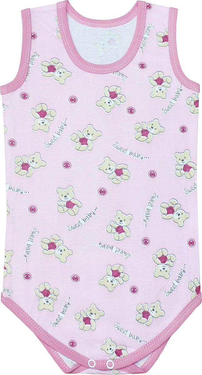 Боди для девочки Веселый малыш One, цвет: розовый. 43172/one-F (1)_милый мишка. Размер 86