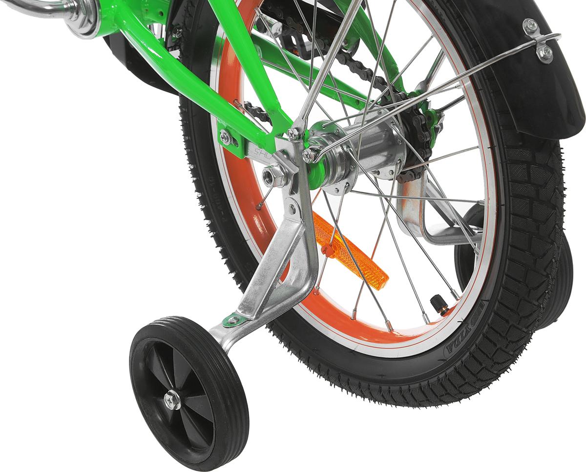 Аргоновая облегченная рама, багажник, алюминиевый облегченный обод колес, хорошо выдерживает ударную нагрузку, защищает от восьмерок; защита цепи, катафоты, комфортное широкое сиденье с амортизацией, боковые пластиковые колеса, ограничитель поворота руля, задний ножной тормоз.