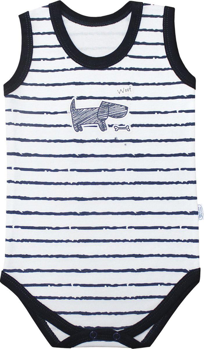 Боди для мальчика Веселый малыш Верные друзья, цвет: белый, темно-синий. 43322/вд-F (1). Размер 86 боди и песочники веселый малыш боди водолазка мамина радость цветочки