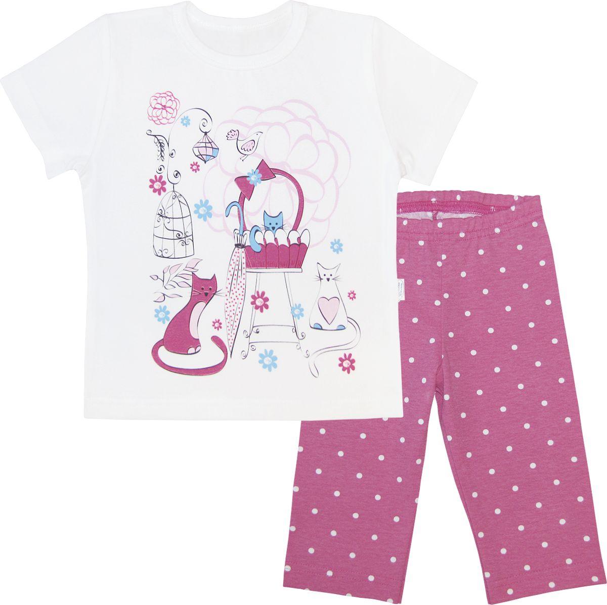 Пижама для девочки Веселый малыш, цвет: белый, малиновый. 238170-N (1)_дамский клуб. Размер 134 пижама для девочки веселый малыш цвет розовый 9215 m 1 размер 128