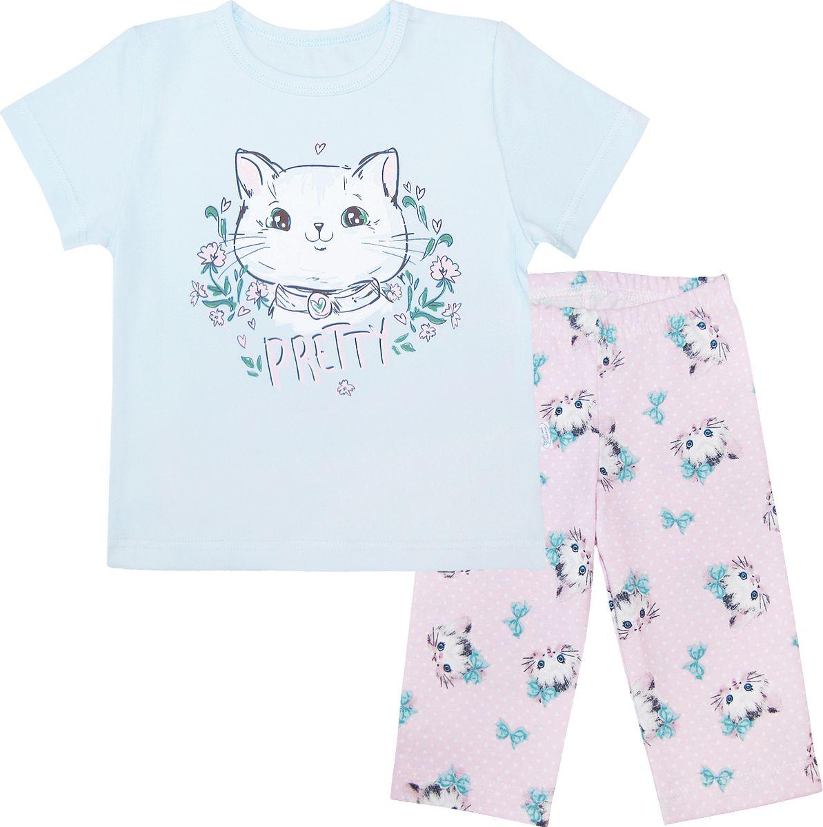 Пижама для девочки Веселый малыш, цвет: голубой, розовый. 238170-O (1)_милый котик. Размер 140 пижама для девочки веселый малыш цвет розовый 9215 m 1 размер 128
