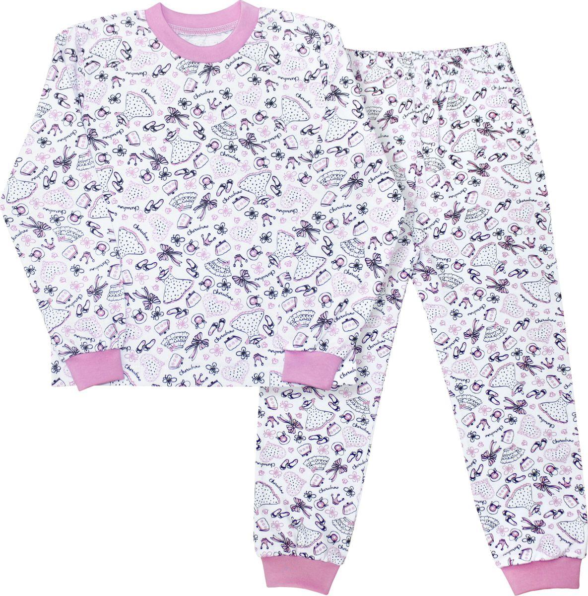 Пижама для девочки Веселый малыш, цвет: розовый. 9317-I (1)_модница. Размер 1049317_модницаУютная детская пижама Веселый малыш послужит идеальным дополнением к гардеробу ребенка, обеспечивая ему наибольший комфорт. Пижама, состоящая из лонгслива и брюк, изготовлена из кулирки, благодаря чему она очень легкая, не раздражает нежную кожу ребенка и хорошо вентилируется. Круглый вырез горловины и манжеты рукавов лонгслива, а также низ штанин дополнены широкой трикотажной резинкой. Брюки зауженного кроя имеют мягкий пояс на вшитой резинке, не сдавливающей живот ребенка.