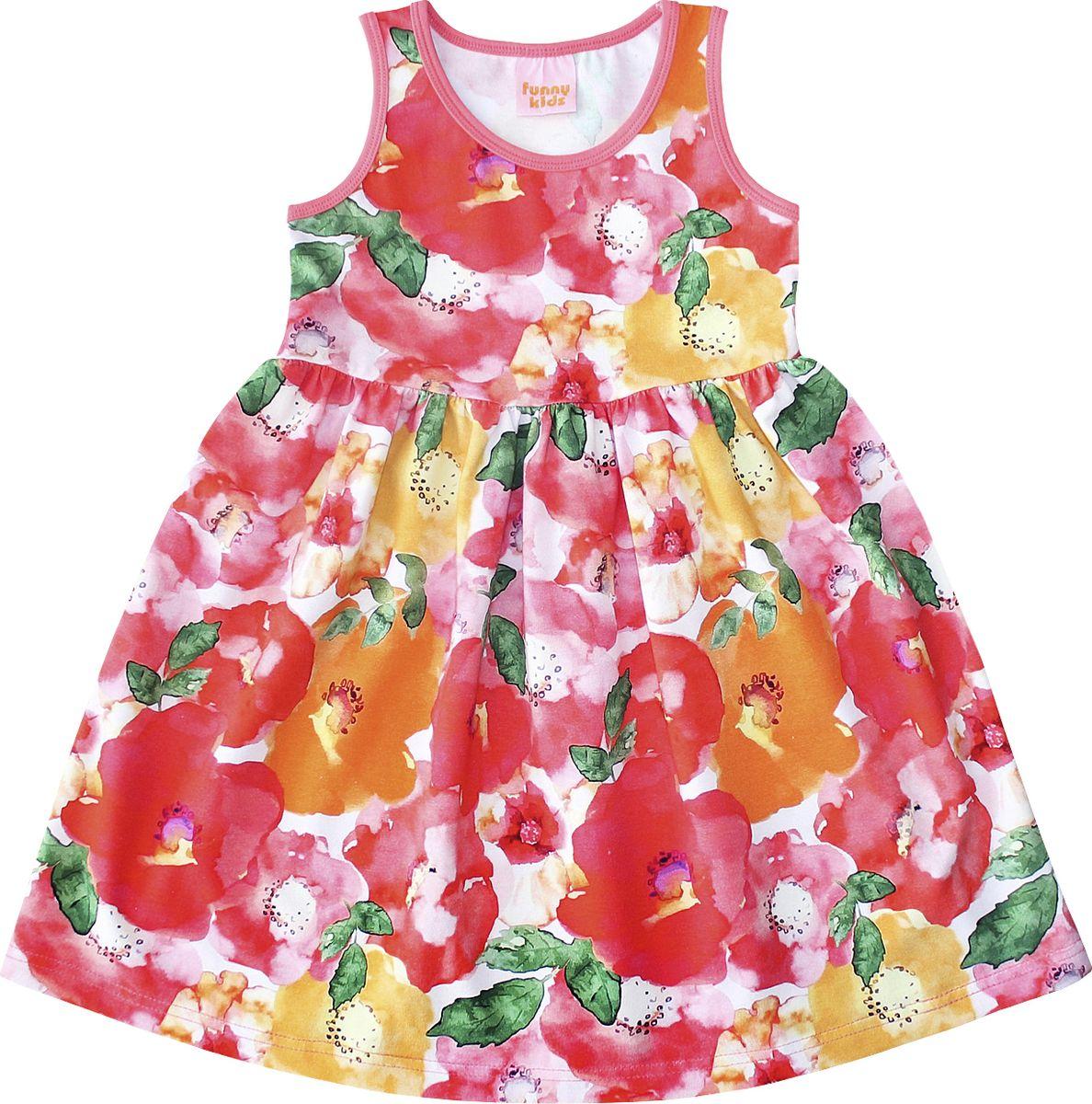 Платье для девочки Веселый малыш Дана, цвет: красный. 348172-L (1)_маки. Размер 122 стоимость