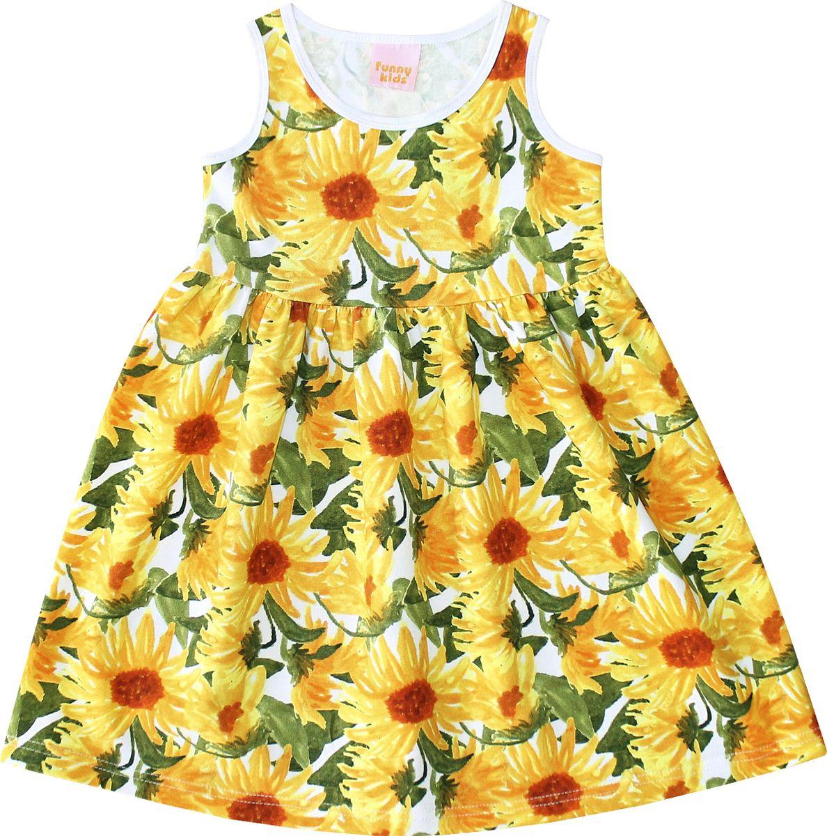 Платье для девочки Веселый малыш Дана, цвет: желтый, зеленый. 348172-L (1)_подсолнухи. Размер 122 стоимость