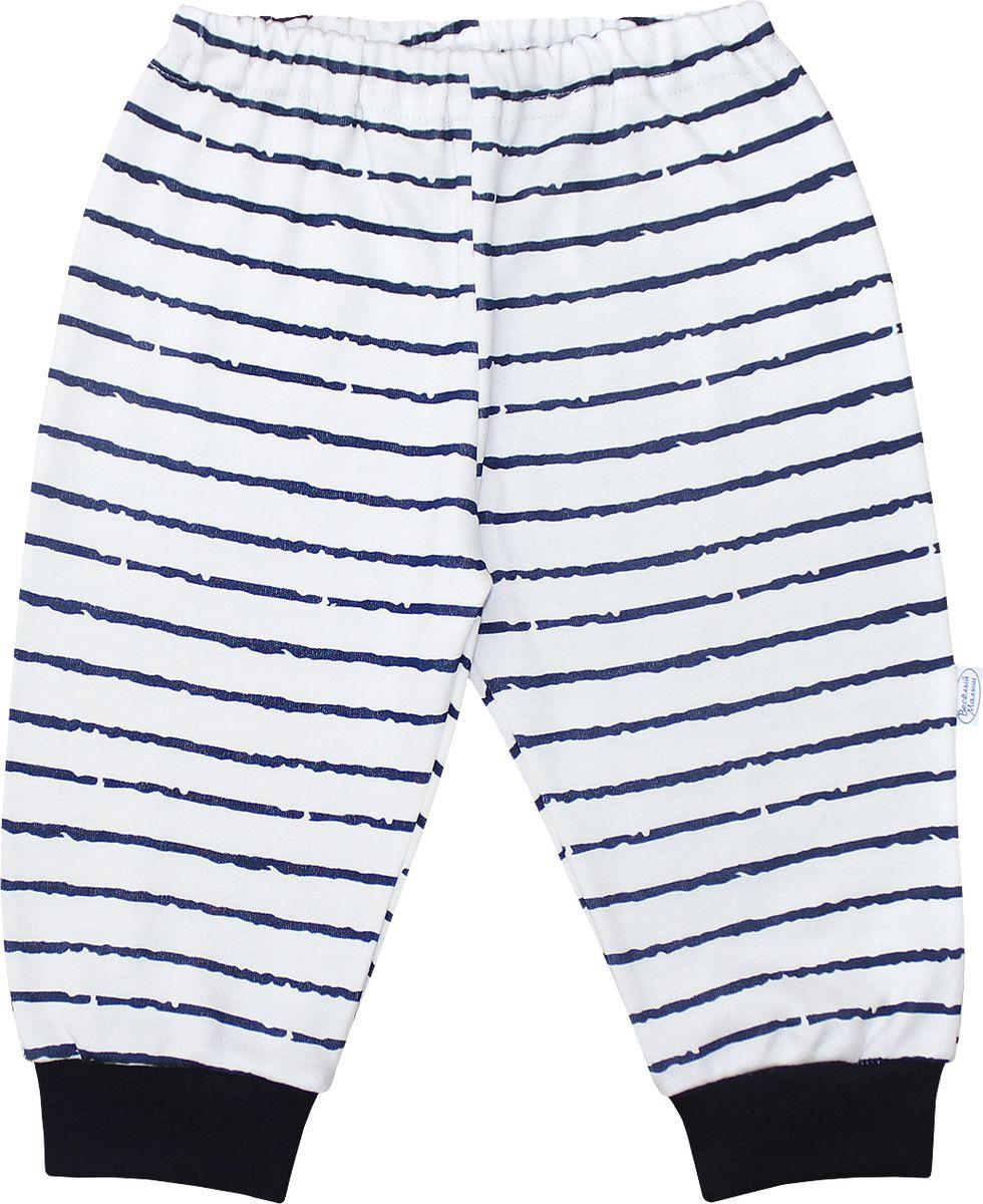 Штанишки для мальчика Веселый малыш Верные друзья, цвет: белый, темно-синий. 33320/вд-F (1)_полоски. Размер 86 брюки джинсы и штанишки веселый малыш штанишки для девочки розочки синие