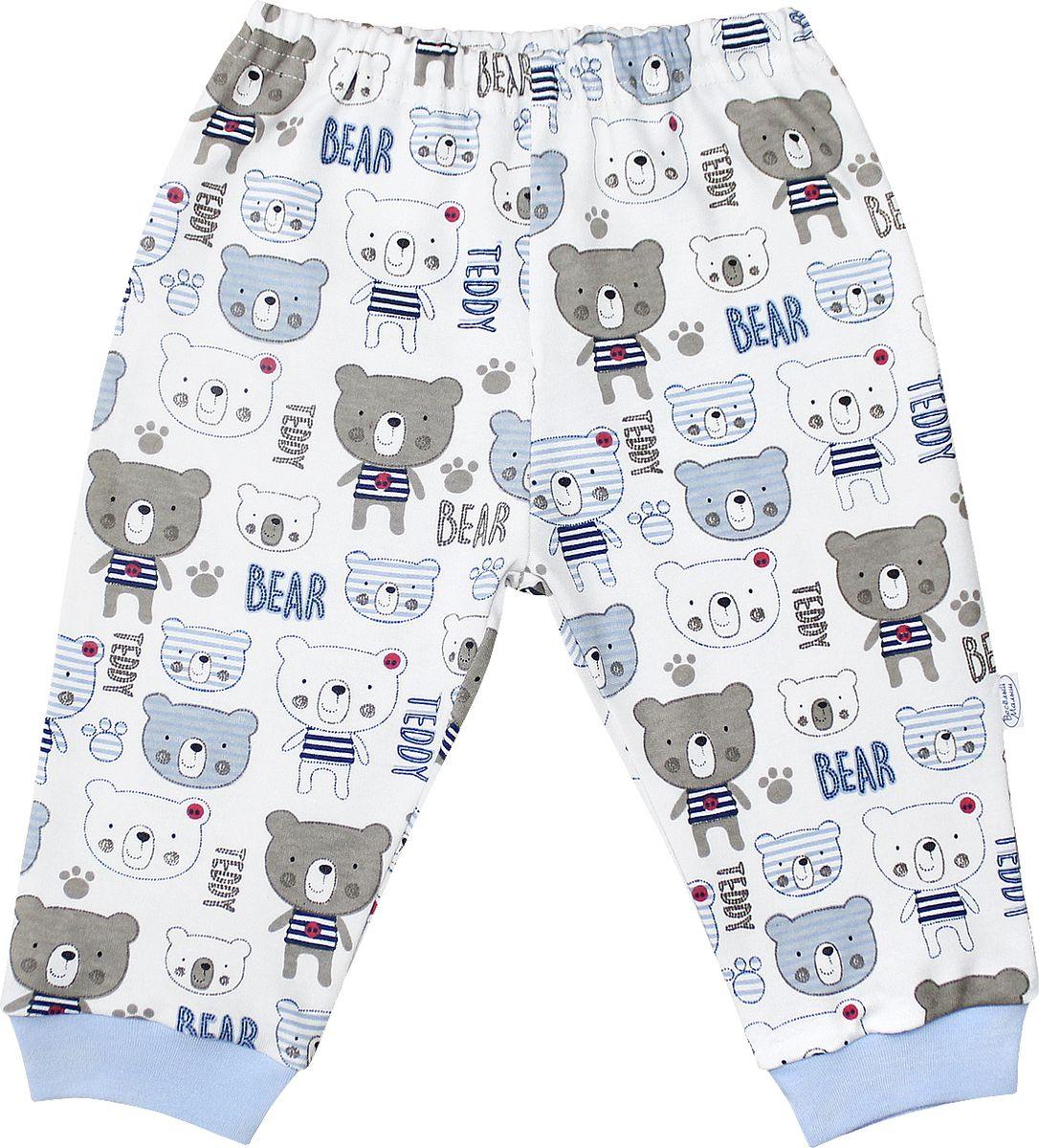 Штанишки для мальчика Веселый малыш Мишка-Тедди, цвет: белый, голубой. 33320/мт-F (1)_набивка. Размер 86 брюки джинсы и штанишки веселый малыш штанишки мото