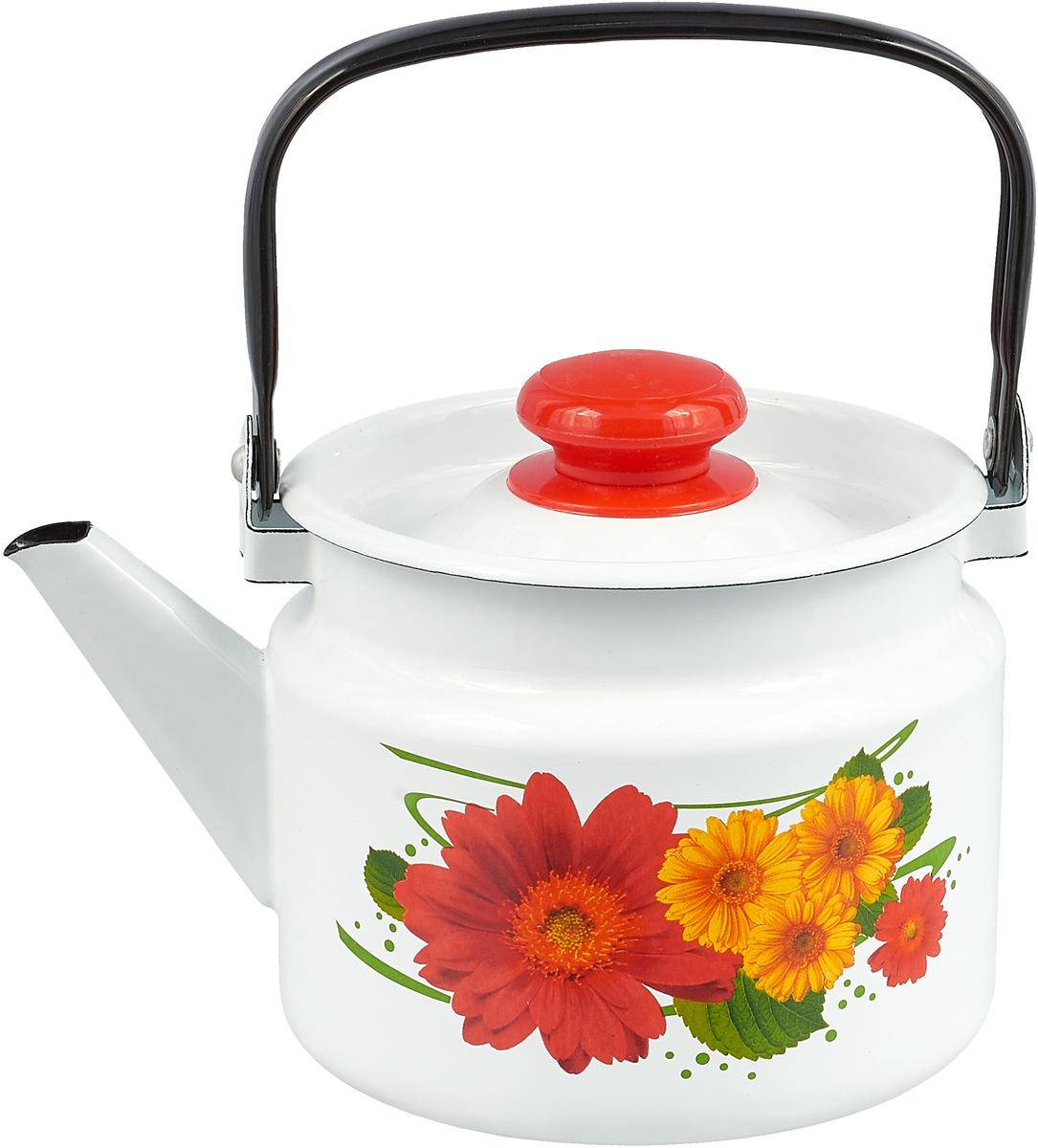 Чайник эмалированный Лысьвенские эмали Цветы, 2 л чайники для плиты лысьвенские эмали чайник 1 0 л заварочный рис лысьвенские эмали