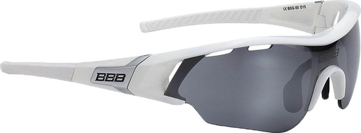 Очки солнцезащитные велосипедные BBB 2018 Summit PC Smoke Flash Mirror Lens, цвет: белый, серебристый