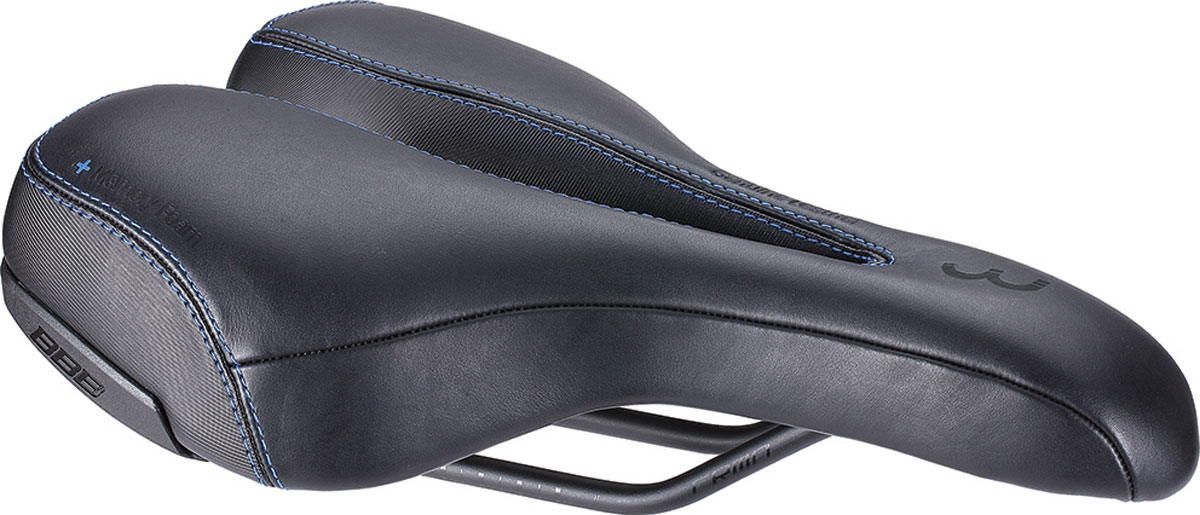 Седло велосипедное BBB SportPlus Active Leather, цвет: черный, 170 х 270 мм