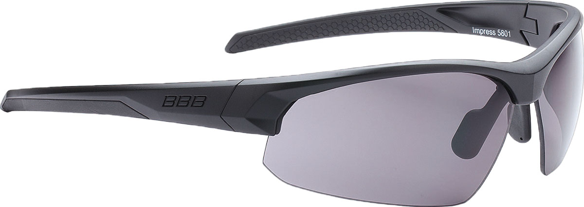 Очки солнцезащитные велосипедные BBB 2018 Impress PC Smoke Blue Lenses, цвет: черный матовый