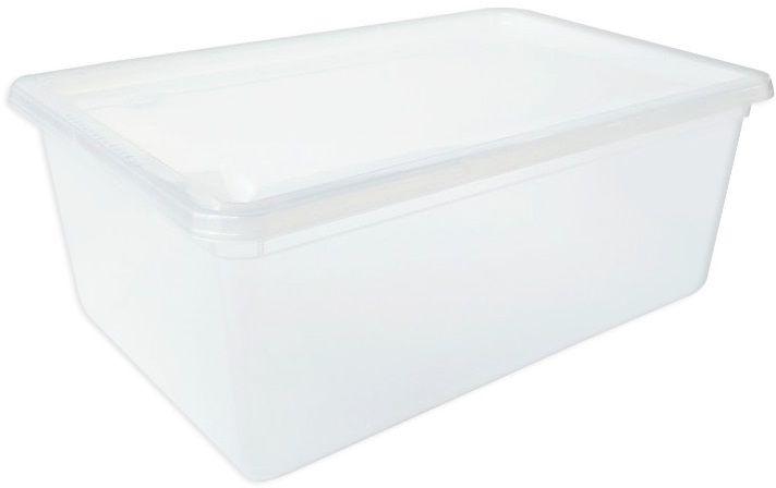 Универсальный ящик для организации оптимального хранения одежды, обуви и разнообразных вещей в доме. Прозрачный корпус и крышка позволяют видеть содержимое. Крышка надежно защелкивается на корпусе. Ящик с закрытой крышкой устанавливаются друг на друга. Конструкция крышки и ребра жесткости на корпусе ящика обеспечивают прочность и устойчивость стенок к деформации.