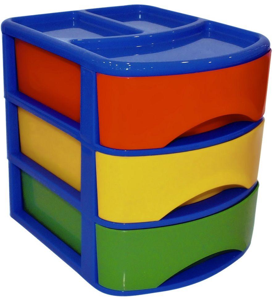 Органайзер для хранения Plast Team Combi, с выдвигающимися ящиками,с 3 отделениями, цвет: синий, 21,2 х 17,1 х 19,6 см автомобильные боксы