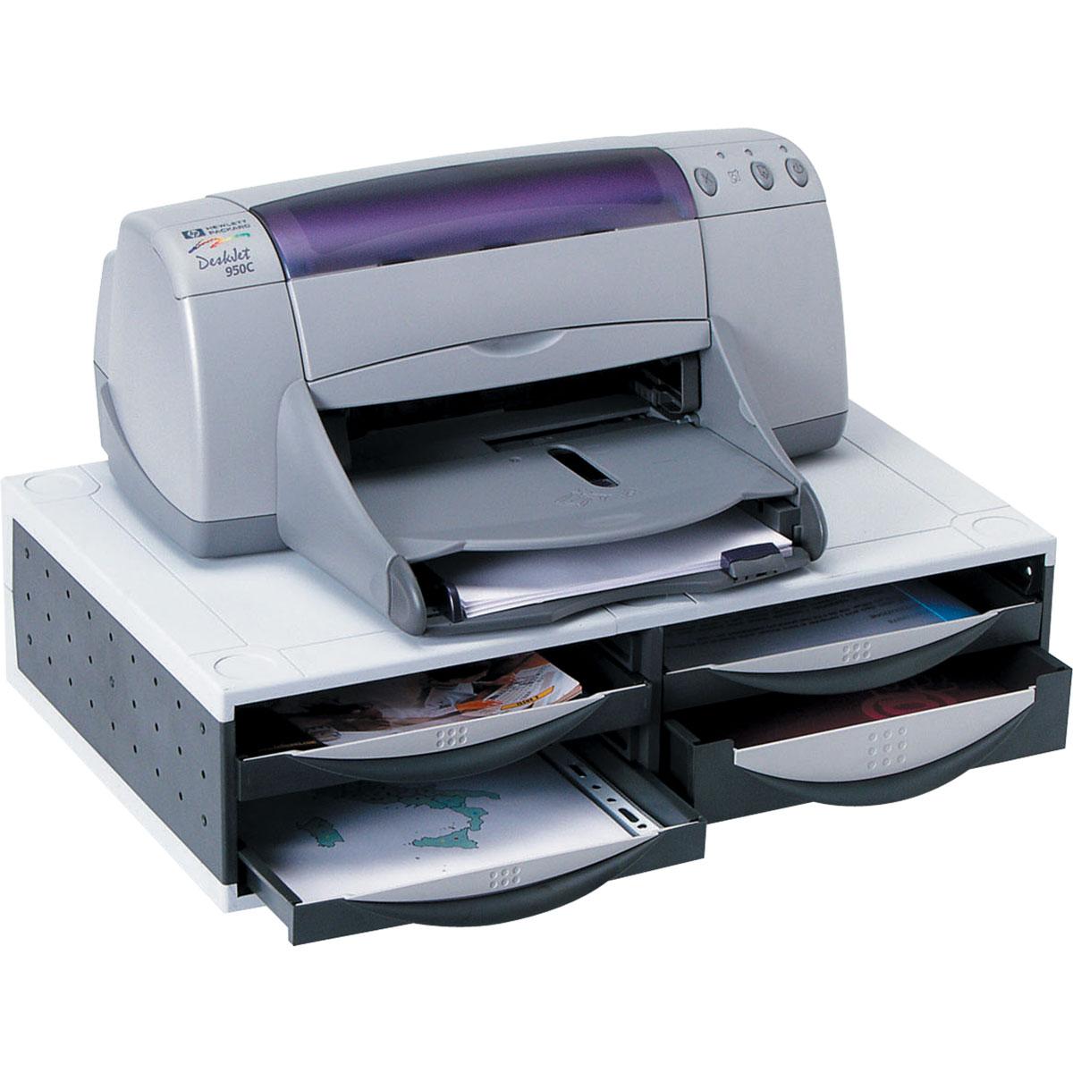 Fellowes Smart Suites FS-24004, Black Grey подставка под оргтехнику до 34 кгFS-24004Подставка под оргтехнику или монитор с выдвижными ящиками для хранения.Устойчивая подставка повышенной прочности для лазерного или чернильного принтера весом до 34 кг.Выдвижные ящики предназначены для хранения всего необходимого для печати: бумага, конверты, бланки и пр.Включает 4 ящика для хранения (1 - большой и 3 стандартных) с 8 вариантами положения.Специальная клипса для крепления кабелей.Размер подставки в мм: В 135 x Ш 540 x Г 345.