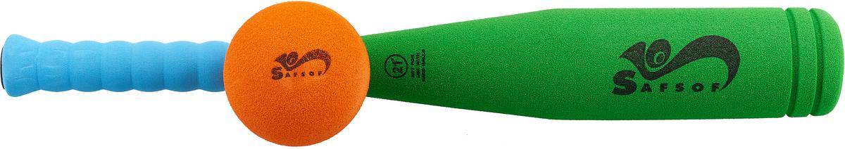Safsof Игровой набор Бейсбольная бита и мяч цвет зеленый голубой оранжевый safsof клюшка хоккейная с шайбой 70см