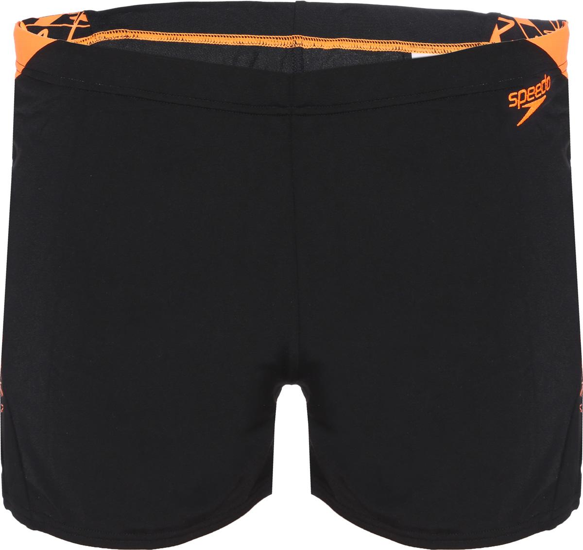 Плавки мужские Speedo Boom Spl Asht Am, цвет: черный, оранжевый. 8-10855C290-C290. Размер 38 (48/50)8-10855C290-C290Спортивные плавки-шорты от Speedo с принтованными вставками, выполнены из ткани Endurance+, которая не содержит в своем составе эластомеров, тем самым являясь устойчивой к разрушительному воздействию хлора. Ткань тянется в четырех направлениях, что обеспечивает точность посадки и повышенный комфорт. Талия регулируется и обеспечивает дополнительную гарантию отличной посадки на фигуре. Длина бокового шва - 27 см. За счет технологичного материала модель поглощает меньше воды, поэтому она быстрее сохнет и дольше сохраняет свою форму. Ткань с фактором защиты от ультрафиолета UPF 50 блокирует вредное солнечное излучение.
