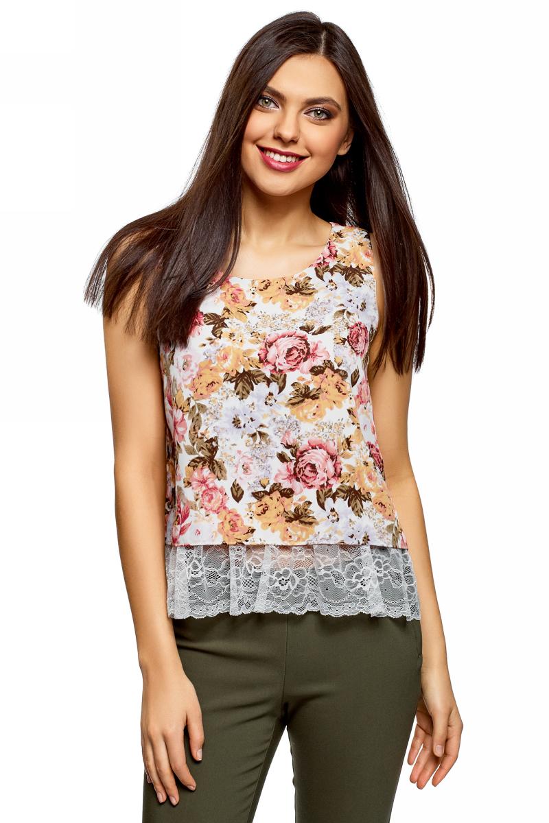 Купить Топ женский oodji Ultra, цвет: белый, карамель, цветы. 14911012/43414/124BF. Размер 42 (48-170)