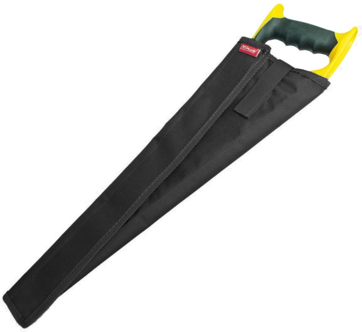 Чехол для ножовки Tplus, кордура 900, цвет: черный, 50 смT014489Чехол для ножовки удобная и полезная вещь. Благодаря ему можно положить ножовку в сумку или рюкзак без какого-либо ущерба. Чехол является разъемным и позволяет просто обернуть его вокруг ножовки. В зависимости от ее ширины чехол можно сделать плотнее или свободнее.Его длина – 500 мм, изготовлен он из ткани кордура 900, которая имеет высокую прочность на разрыв и стойкость к истиранию. Закрывается чехол при помощи текстильной ленты-липучки, пришитой вдоль него. Также на нем предусмотрен специальный язычок на липучке, который с одной стороны просовывается сквозь ручку ножовки, а с другой стороны крепится на чехол, создавая фиксацию.Приобретая чехол для ножовки, вы обеспечиваете безопасную переноску режущего предмета, а также защищаете его от грязи, пыли и влаги.