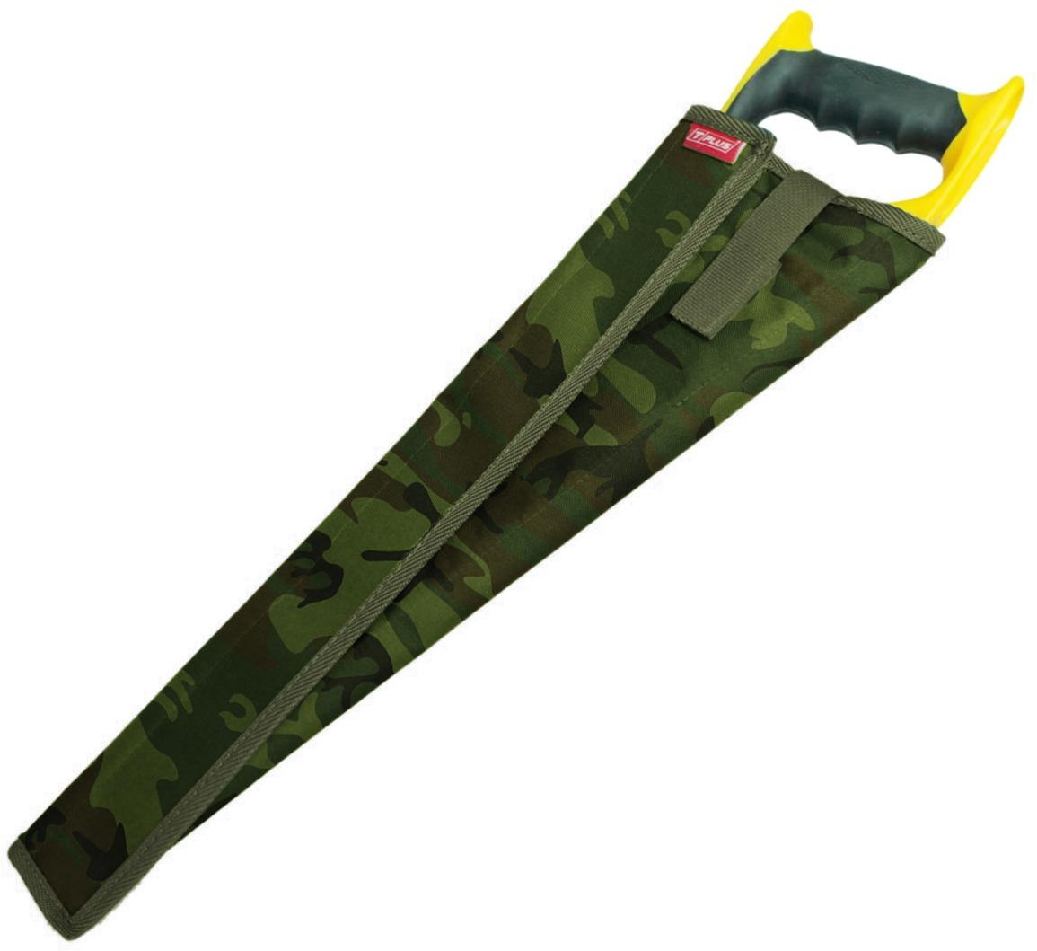 Чехол для ножовки Tplus, оксфорд 600, цвет: нато, 50 смT014492Чехол для ножовки удобная и полезная вещь. Благодаря ему можно положить ножовку в сумку или рюкзак без какого-либо ущерба. Чехол является разъемным и позволяет просто обернуть его вокруг ножовки. В зависимости от ее ширины чехол можно сделать плотнее или свободнее.Его длина – 500 мм, изготовлен он из ткани оксфорд 600, которая имеет высокую прочность на разрыв и стойкость к истиранию. Закрывается чехол при помощи текстильной ленты-липучки, пришитой вдоль него. Также на нем предусмотрен специальный язычок на липучке, который с одной стороны просовывается сквозь ручку ножовки, а с другой стороны крепится на чехол, создавая фиксацию.Приобретая чехол для ножовки, вы обеспечиваете безопасную переноску режущего предмета, а также защищаете его от грязи, пыли и влаги