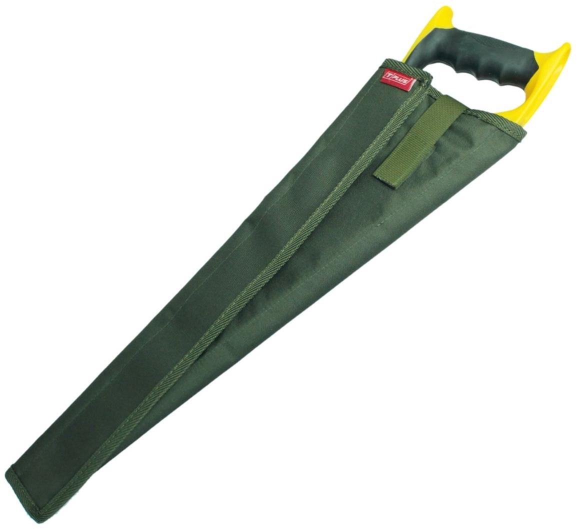 Чехол для ножовки Tplus, кордура 900, цвет: темно-зеленый, 35 смT014716Чехол для ножовки удобная и полезная вещь. Благодаря ему можно положить ножовку в сумку или рюкзак без какого-либо ущерба. Чехол является разъемным и позволяет просто обернуть его вокруг ножовки. В зависимости от ее ширины чехол можно сделать плотнее или свободнее.Его длина – 350 мм, изготовлен он из ткани кордура 900, которая имеет высокую прочность на разрыв и стойкость к истиранию. Закрывается чехол при помощи текстильной ленты-липучки, пришитой вдоль него. Также на нем предусмотрен специальный язычок на липучке, который с одной стороны просовывается сквозь ручку ножовки, а с другой стороны крепится на чехол, создавая фиксацию.Приобретая чехол для ножовки, вы обеспечиваете безопасную переноску режущего предмета, а также защищаете его от грязи, пыли и влаги.