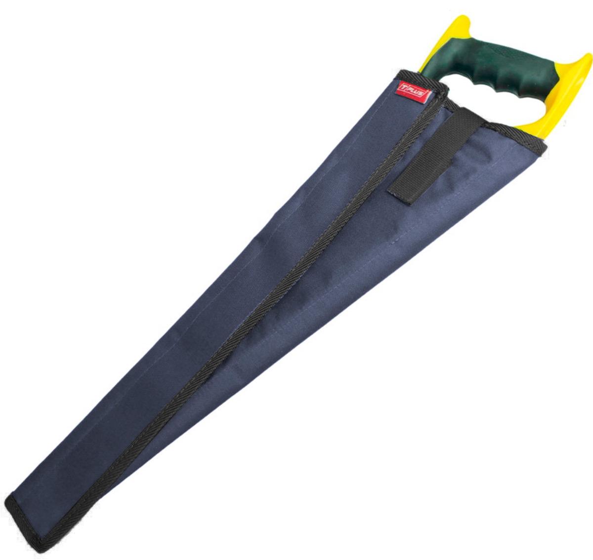Чехол для ножовки Tplus, оксфорд 600, цвет: синий, 35 смT014724Чехол для ножовки удобная и полезная вещь. Благодаря ему можно положить ножовку в сумку или рюкзак без какого-либо ущерба. Чехол является разъемным и позволяет просто обернуть его вокруг ножовки. В зависимости от ее ширины чехол можно сделать плотнее или свободнее.Его длина – 350 мм, изготовлен он из ткани оксфорд 600, которая имеет высокую прочность на разрыв и стойкость к истиранию. Закрывается чехол при помощи текстильной ленты-липучки, пришитой вдоль него. Также на нем предусмотрен специальный язычок на липучке, который с одной стороны просовывается сквозь ручку ножовки, а с другой стороны крепится на чехол, создавая фиксацию.Приобретая чехол для ножовки, вы обеспечиваете безопасную переноску режущего предмета, а также защищаете его от грязи, пыли и влаги.
