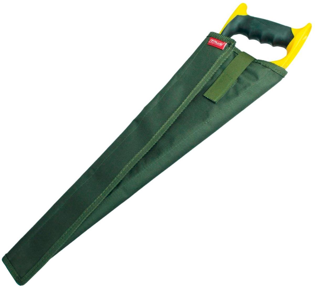 Чехол для ножовки Tplus, кордура 900, цвет: темно-зеленый, 55 смT014738Чехол для ножовки удобная и полезная вещь. Благодаря ему можно положить ножовку в сумку или рюкзак без какого-либо ущерба. Чехол является разъемным и позволяет просто обернуть его вокруг ножовки. В зависимости от ее ширины чехол можно сделать плотнее или свободнее.Его длина – 550 мм, изготовлен он из ткани кордура 900, которая имеет высокую прочность на разрыв и стойкость к истиранию. Закрывается чехол при помощи текстильной ленты-липучки, пришитой вдоль него. Также на нем предусмотрен специальный язычок на липучке, который с одной стороны просовывается сквозь ручку ножовки, а с другой стороны крепится на чехол, создавая фиксацию.Приобретая чехол для ножовки, вы обеспечиваете безопасную переноску режущего предмета, а также защищаете его от грязи, пыли и влаги.