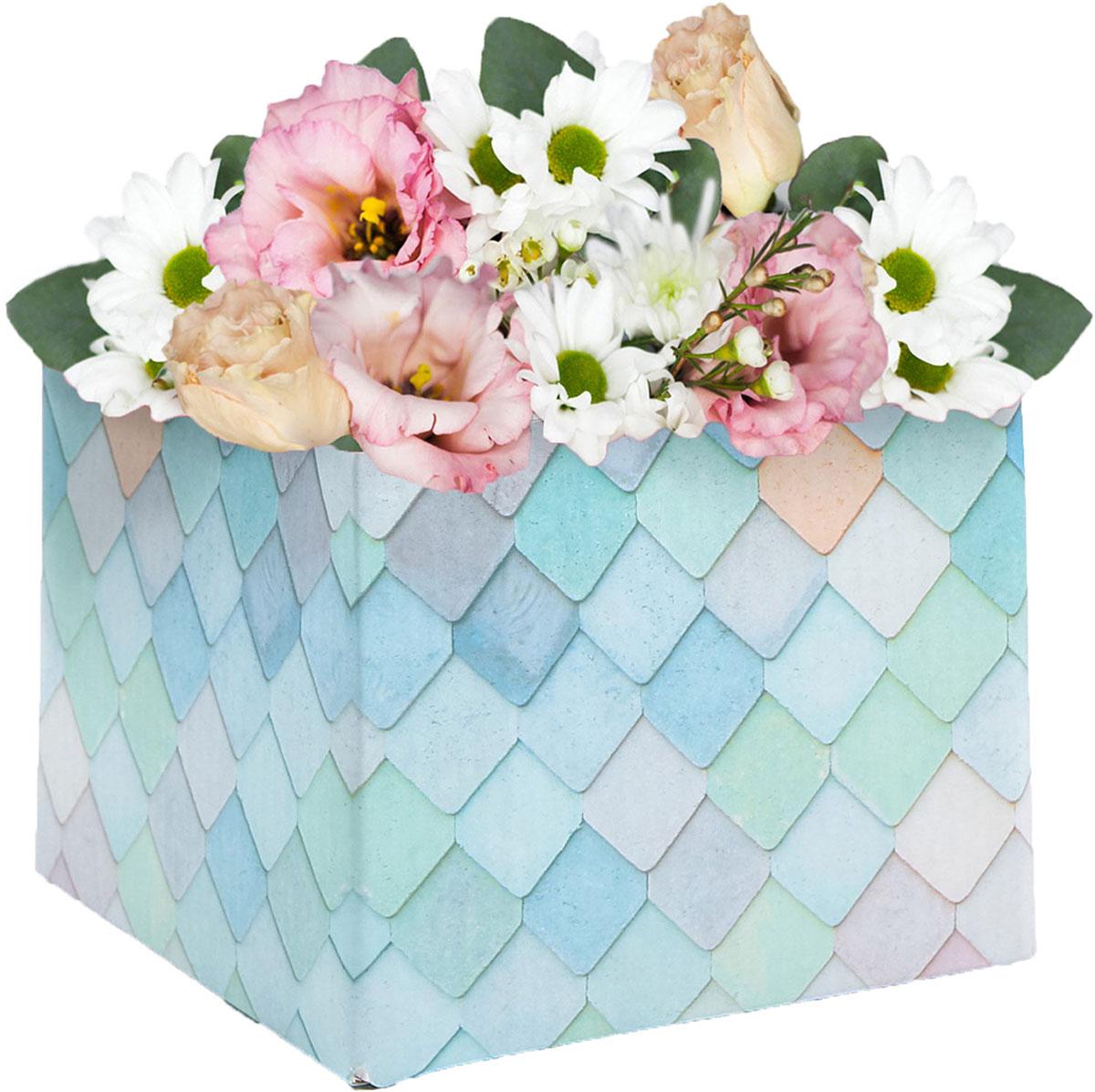 Коробка подарочная Дарите Счастье Мой сад, складная, 10 х 10 х 12 см коробка складная дарите счастье снегири на санях цвет синий красный 23 5 х 14 5 х 18 см