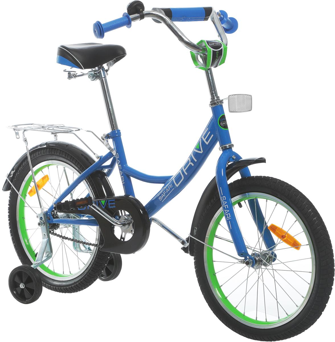 Велосипед детский Safari Proff Drive, двухколесный, цвет: синий, колесо 181044607Аргоновая облегченная рама, багажник, алюминиевый облегченный обод колес, хорошо выдерживает ударную нагрузку, защищает от восьмерок; защита цепи, катафоты, комфортное широкое сиденье с амортизацией, боковые пластиковые колеса, ограничитель поворота руля, задний ножной тормоз.