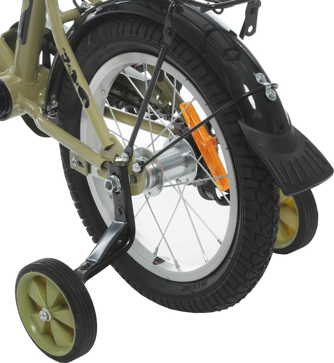 Звонок, багажник СР, ЕВРОшатуны,улучшенная задняя втулка, катафот в переднем колесе, катафот спереди, катафот сзади, задний ножной тормоз, дополнительные колесики на упрочненном кронштейне, ограничитель поворота руля, мягкие накладки на руле.