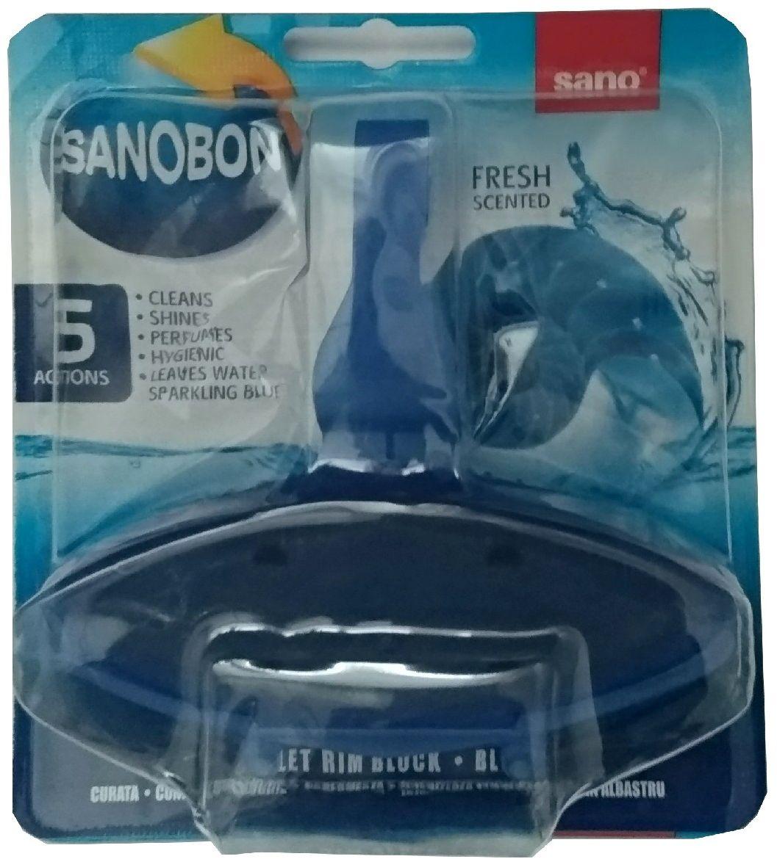 Подвески для унитаза Sanobon Серия экономичных упаковок для унитаза. До 800 сливов Обеспечивают гигиеническую чистоту, очищают, придают блеск, освежают. Аромат свежести. Окрашивает воду в синий цвет.