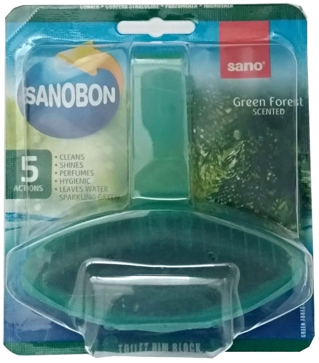 Подвески для унитаза Sanobon Лес Серия экономичных упаковок для унитаза. До 800 сливов Обеспечивают гигиеническую чистоту, очищают, придают блеск, освежают. Аромат хвои. Окрашивает воду в зеленый цвет.