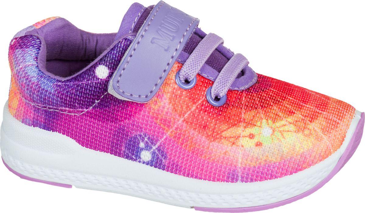 Кроссовки для девочки Mursu, цвет: оранжевый, сиреневый. 203064. Размер 22203064Застежка велькро (липучка) и эластичные шнурки.