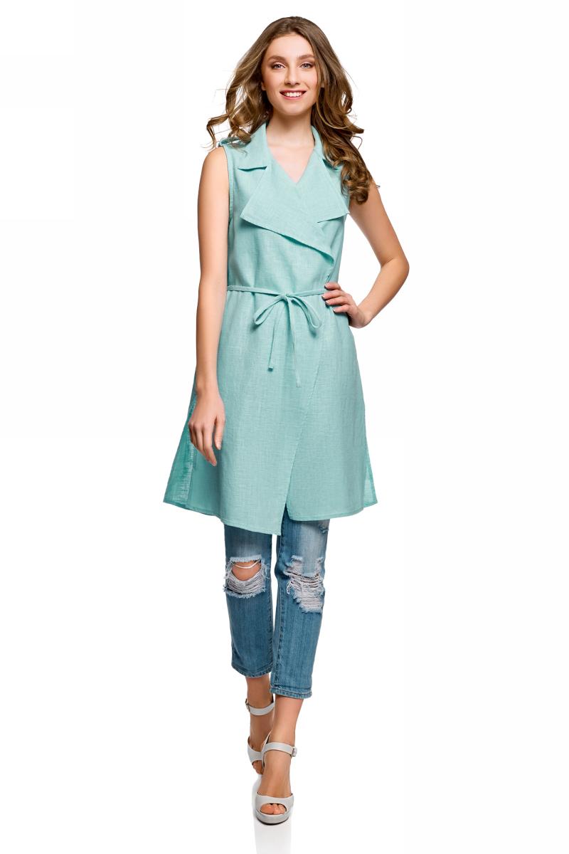 Купить Жилет женский oodji Collection, цвет: голубой. 22305006/46607/7002N. Размер 36 (42-170)