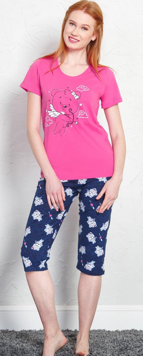Комплект домашний женский Vienetta's Secret Влюбленный мишка, цвет: темно-розовый, синий. 707059 5076. Размер XL (50) 2015 weiqin 5076