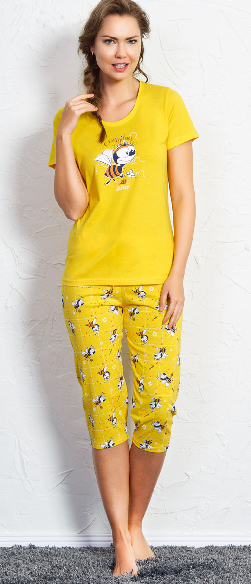 Комплект домашний женский Vienetta's Secret Пчела, цвет: желтый. 707052 5075. Размер XL (50) комплект домашний женский vienetta s secret футболка капри цвет желтый бирюзовый 602137 5241 размер xl 50