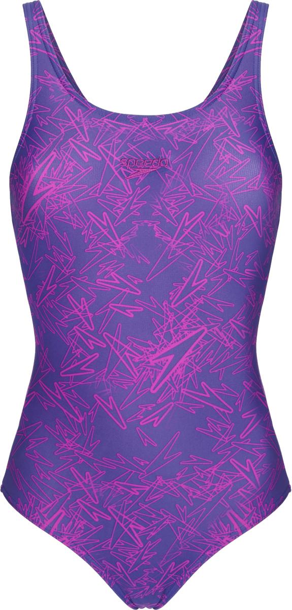 Купальник слитный Speedo Boom Alov Msbk Af, цвет: фиолетовый, фуксия. 8-10818C265-C265. Размер 30 (40/42)8-10818C265-C265Женский принтованный купальник от Speedo изготовлен из ткани Endurance 10, которая в 10 раз более устойчива к разрушающему воздействию хлора, чем обычные ткани с эластаном и спандексом. Ткань тянется в 4-х направлениях, что обеспечивает точность посадки и повышенный комфорт. За счет технологичного материала модель поглощает меньше воды, поэтому она быстрее сохнет и дольше сохраняет свою форму. Ткань с фактором защиты от ультрафиолета UPF 50 блокирует вредное солнечное излучение. Конструкция купальника предусматривает среднюю высоту линии выреза бедра, а конструкция спинки обеспечивает максимальную свободу движений. Модель представлена без чашек.