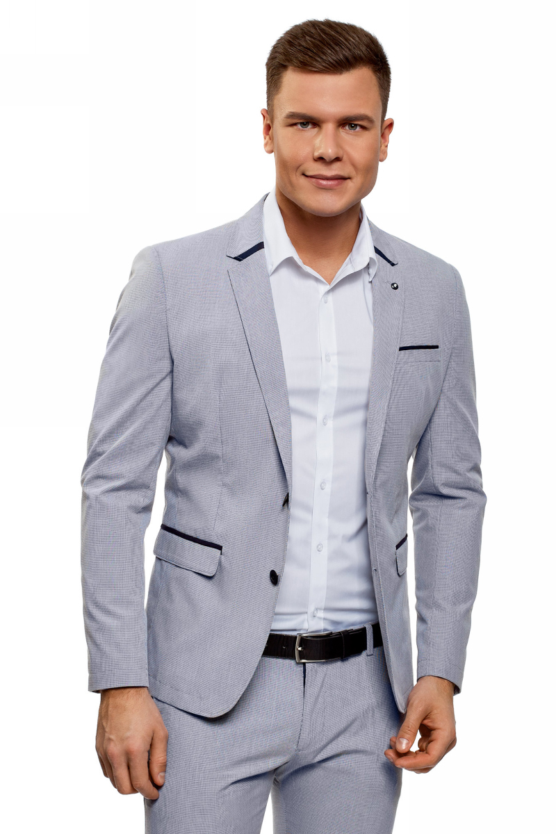 Пиджак мужской oodji Lab, цвет: темно-синий, белый. 2L420224M/48093N/7910C. Размер L (54-182)2L420224M/48093N/7910CКлассический приталенный пиджак от oodji выполнена из смесового хлопка. Модель с длинными рукавами и лацканами застегивается на пуговицы, дополнена карманами.