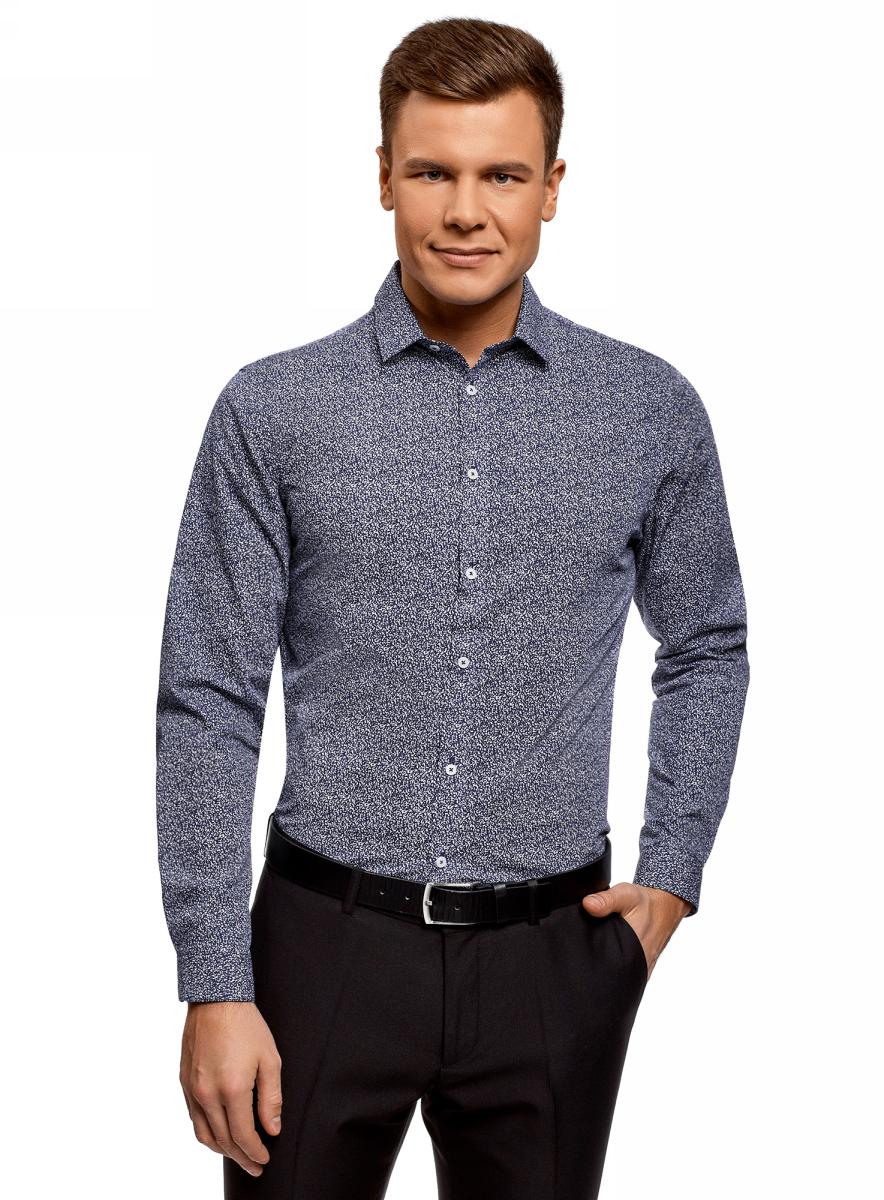 Рубашка мужская oodji Lab, цвет: белый, темно-синий. 3L110322M/44425N/1079G. Размер 44 (56-182)