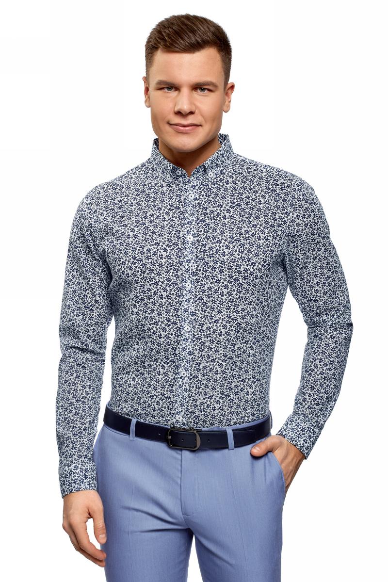 Рубашка мужская oodji Lab, цвет: белый, темно-синий. 3L110323M/48268N/1079F. Размер 39 (46-182) рубашка мужская oodji цвет белый морская волна 3l210030m 44192n 106cc размер 40 182 48 182