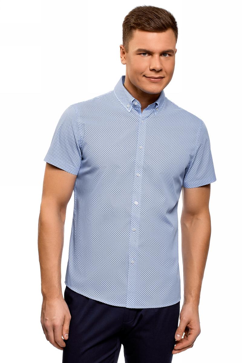 Рубашка мужская oodji Lab, цвет: голубой, темно-синий. 3L210053M/44425N/7079G. Размер 42 (52-182)3L210053M/44425N/7079GРубашка от oodji выполнена из натурального хлопка. Модель приталенного кроя с короткими рукавами и двойным отложным воротником застегивается на пуговицы.