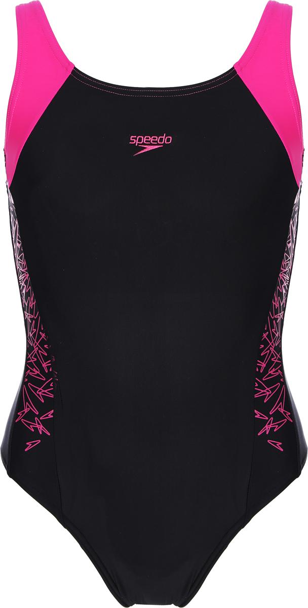 Купальник слитный для девочки Speedo Boom Splice Muscleback, цвет: черный, розовый. 8-10844B344-B344. Размер 1648-10844B344-B344Купальник для девочек от Speedo с принтованными и контрастными вставками - удачный выбор как для пляжного отдыха, так и для бассейна. Технологичная ткань Endurance10 не содержит в своем составе эластомеров и устойчива к воздействию хлора. Эластичная ткань, которая тянется в четырех направлениях, обеспечивает комфорт и удобную посадку. Благодаря технологичному материалу, изделие поглощает меньше воды, поэтому оно быстрее сохнет и дольше сохраняет свою форму. Материал с фактором защиты от ультрафиолета UPF 50 блокирует вредное солнечное излучение.