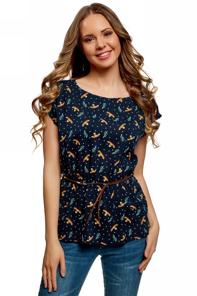 Купить Блузка женская oodji Ultra, цвет: темно-синий, оранжевый. 11400345-4B/24681/7955O. Размер 36 (42-170)