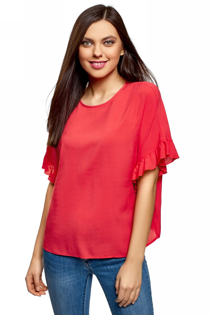 Блузка женская oodji Ultra, цвет: ярко-розовый. 11405138/46436/4D01N. Размер 34 (40-170)