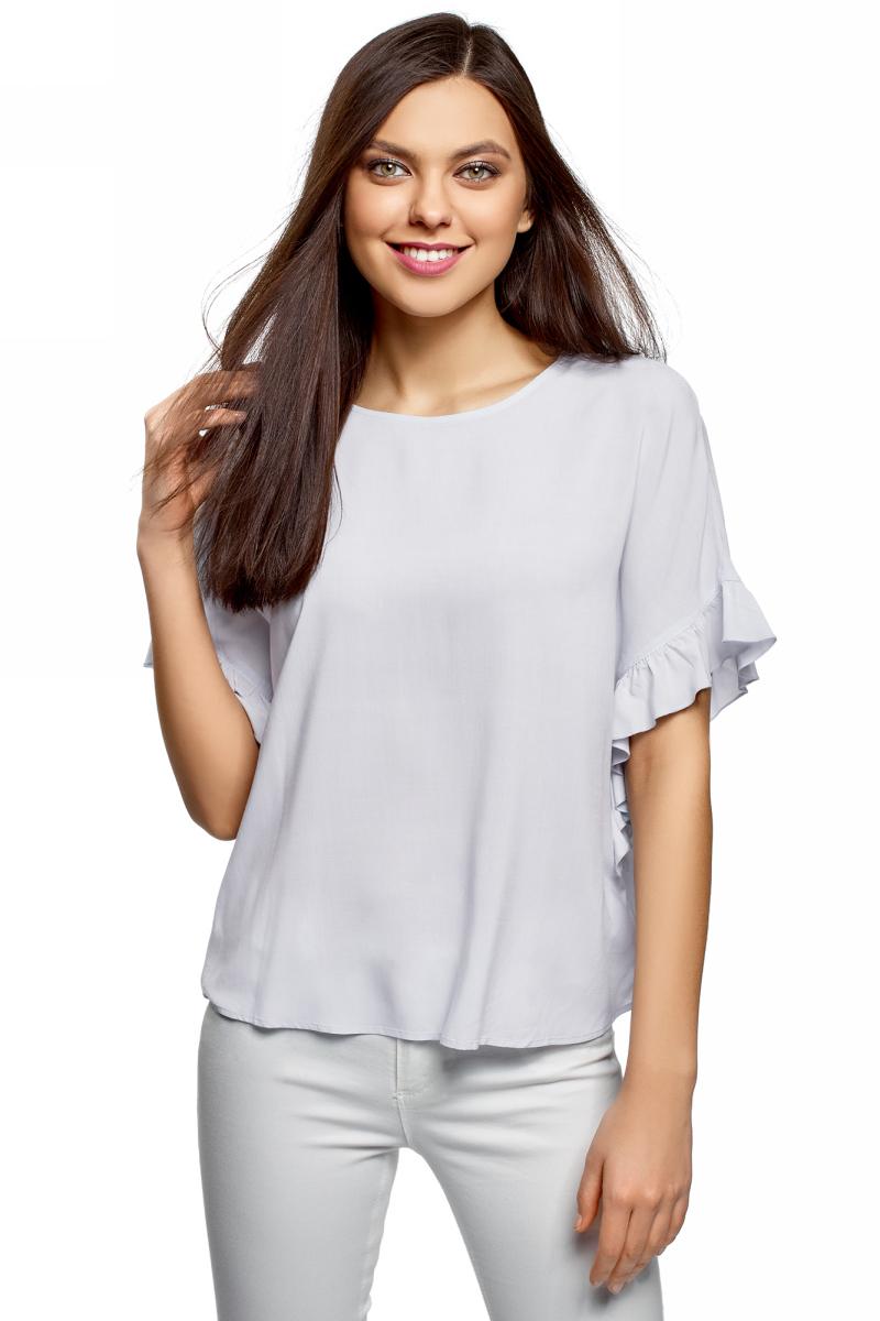 цены на Блузка женская oodji Ultra, цвет: голубой. 11405138/46436/7001N. Размер 34 (40-170) в интернет-магазинах