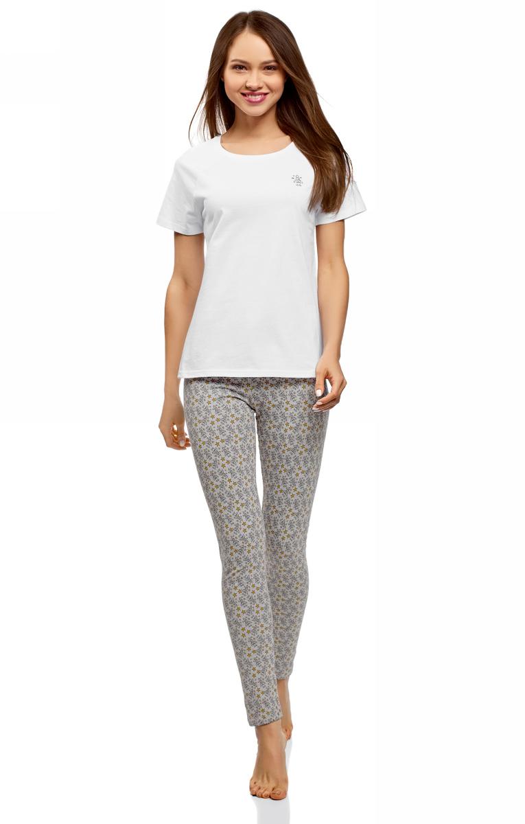 Пижама женская oodji Ultra, цвет: светло-серый, белый. 56002198-7/46154/2010Q. Размер S (44)